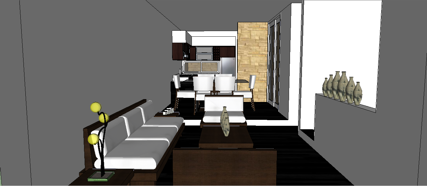 Primer dise o interior zona social sala comedor cocina for Comedor gris y blanco